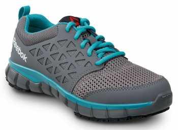 Reebok SRB030 Sublite, Women's, Grey/Turquoise, Athletic Style Slip Resistant Soft Toe Work Shoe