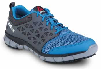 Reebok SRB3200 Sublite Cushion Work, Sky Blue/Dark Grey, Unisex, Athletic Style Slip Resistant Soft Toe Work Shoe