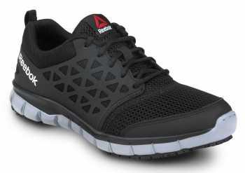 Reebok SRB3201 Sublite Cushion Work, Black/Gray, Men's, Athletic Style Slip Resistant Soft Toe Work Shoe