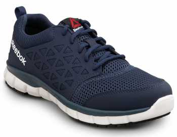Reebok SRB3205 Sublite Cushion Work, Navy, Men's, Athletic Style Slip Resistant Soft Toe Work Shoe