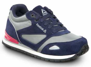 Reebok SRB978 Prelaris, Navy/Grey/Pink, Women's, Jogger Style Slip Resistant Soft Toe Work Shoe