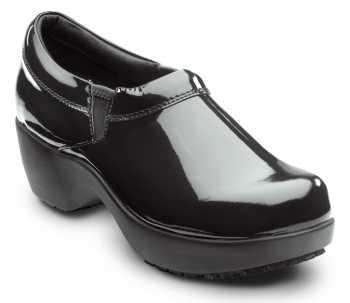 SR Max SRM133 Geneva Black Patent, Women's, Clog Style Slip Resistant Soft Toe Work Shoe
