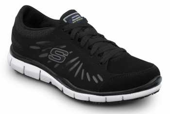 SKECHERS Work SSK405BKW Stacey Black/White, Soft Toe, Slip Resistant, Low Athletic
