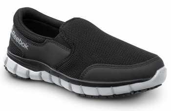 Reebok SRB031 Sublite Women's, Black/Grey, Slip On Athletic Style Slip Resistant Soft Toe Work Shoe